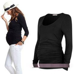 Vêtements de maternité printemps et automne plicatif élastique haut de maternité t-shirt de base à manches longues coton Vêtements Pour Les Femmes Enceintes