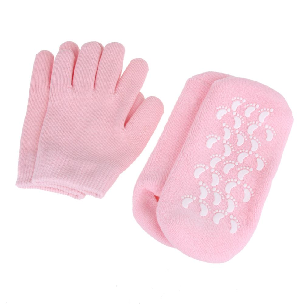 Wiederverwendbare SPA Gel Socken Handschuhe Feuchtigkeitsspendende Bleaching Peeling Fuß Maske Ageless Glatte Hand Maske Fußpflege Silikon Gel Socken