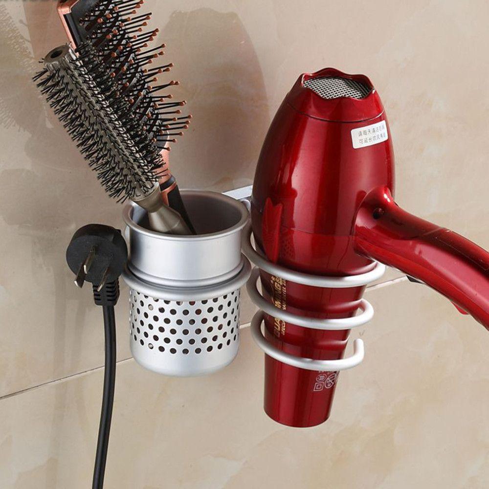 Multi-function Bathroom Wall Mounted Hair Dryer Comb Rack Space Aluminum Shelf Storage Organizer Hairdryer Holder Spiral Stand