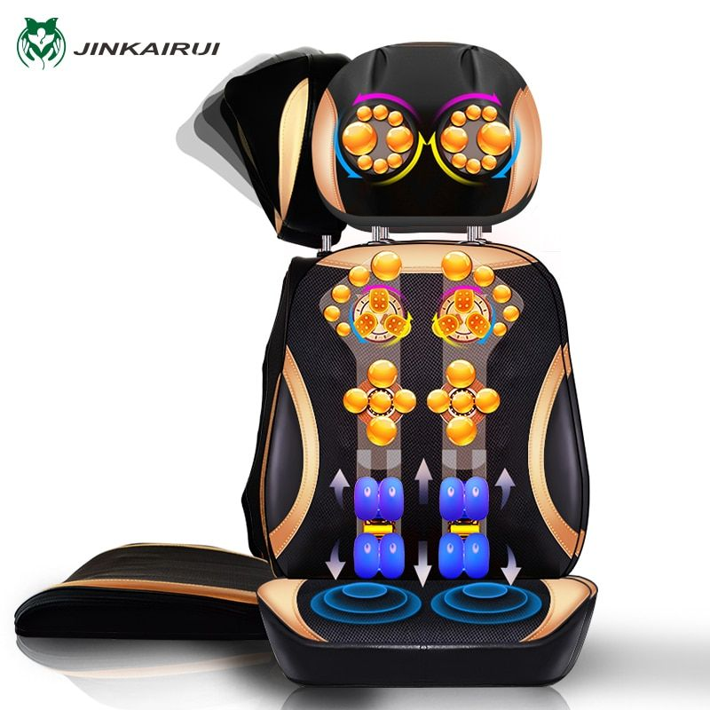 JinKaiRui Vibrating Electric Cervical <font><b>Neck</b></font> Back Body Household Massage Chair Massage Pad Muscle Stimulator with Heating Device