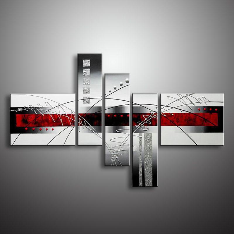 Peinture à l'huile Peint À La Main 5 Panneau Fixé Abstrait Moderne Ligne fleur de Toile D'art de Mur Décoration Photo Pour Salon vente