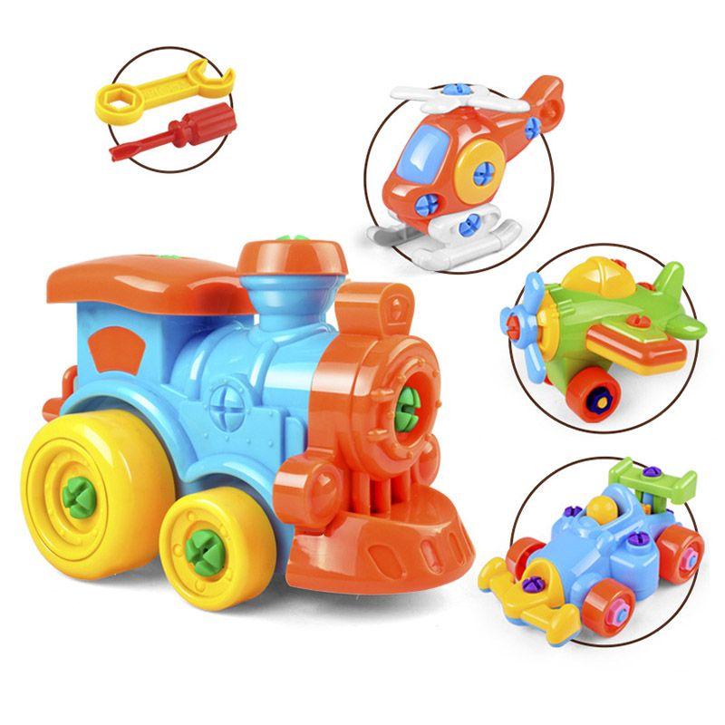 DIY Demontage Flugzeug Auto Bausteine Modell Werkzeug mit Schraubendreher Montiert Pädagogisches Spielzeug Für Kinder Kinder @ Z360 M09