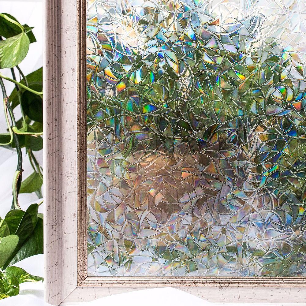 CottonColors Décoration Fenêtre Couverture Films, aucun-Colle 3D Statique Décoratif Confidentialité PVC Étanche Verre Autocollants 45x200 cm