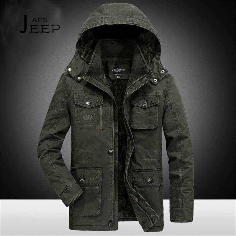 AFS JEEP 6xl/7xl/8xl Plus Size Hooded Winter Parkas Solid Miliar Cotton Coat 2017 winter Male Field Working Warm Motorcycle coat