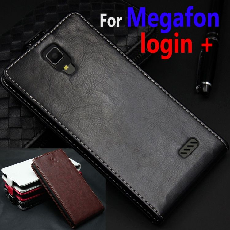 Classic Luxury Genuine Leather Flip Up and Down Leather case For Megafon login + login+ Phone housing Cover Case With Card Slot