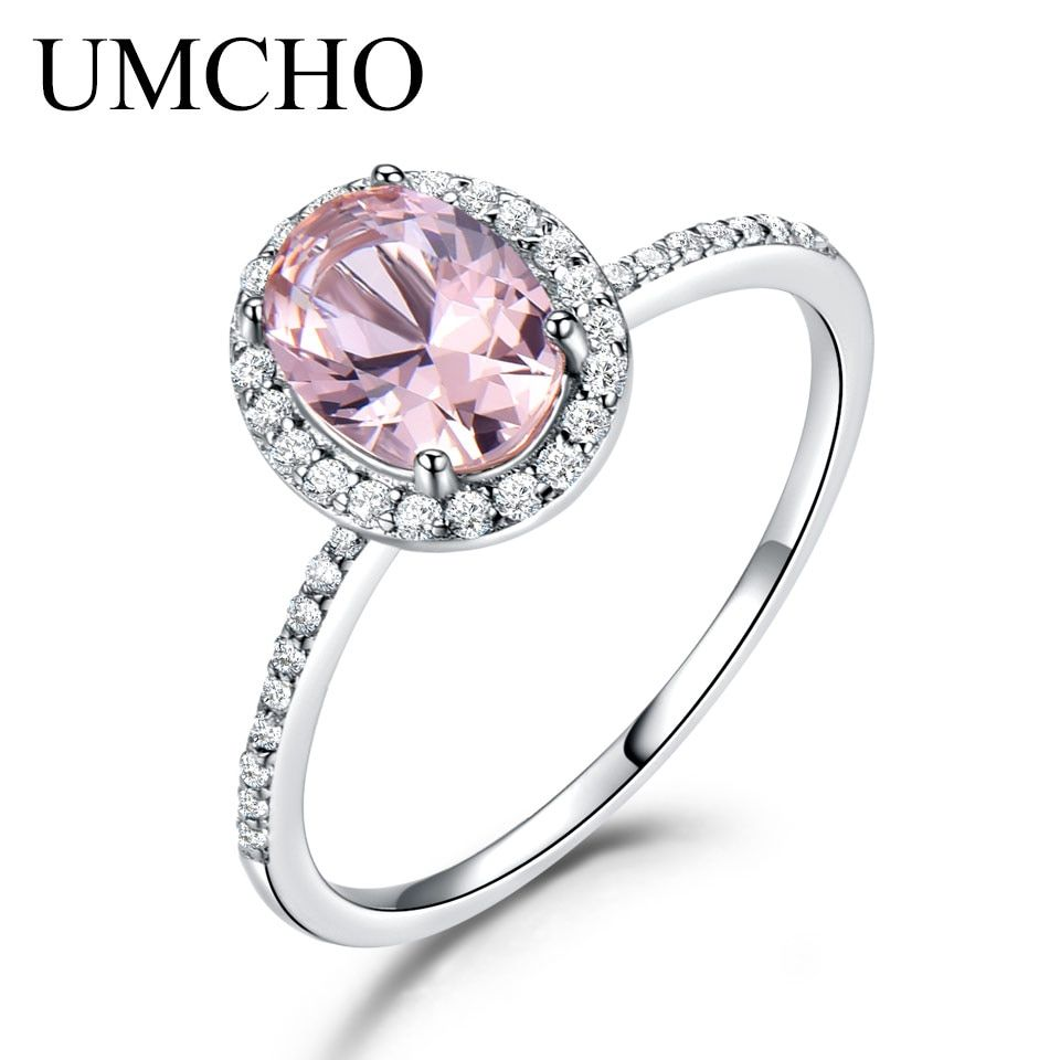 UMCHO 925 Sterling Silver Oval Classic Pink Created Sapphire Rings For Women Engagement <font><b>Wedding</b></font> Party Ring Fine Jewelry New