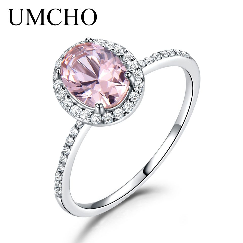 UMCHO 925 Sterling Silver Oval Classic Pink Created Sapphire Rings For Women Engagement Wedding Party Ring Fine Jewelry New