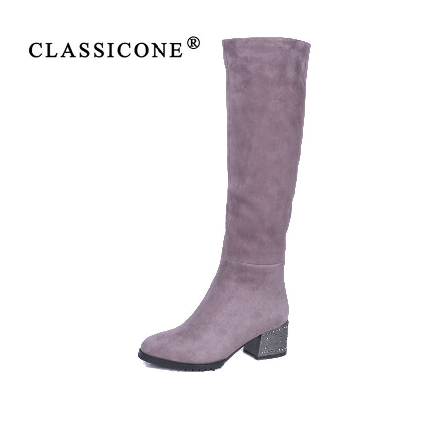 CLASSICONE 2018 shoes woman winter wool snow knee boots genuine leather inside warm brand fashion high heels pumps no slippery