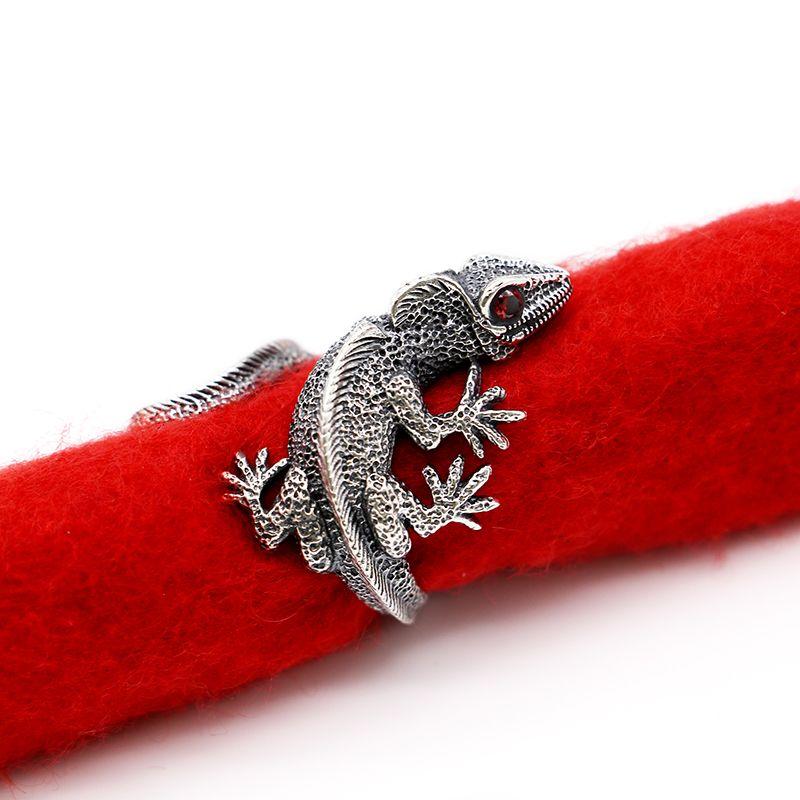 100% 925 silber Ringe für Männer Eidechse Form Punk Schmuck Vintage Stil Silber Öffnen Größe Ring Hohe Qualität Schmuck Casual bijoux