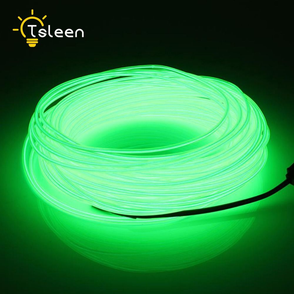 TSLEEN LED Strip Flexible Neon Light AA Battery Power 2 3 5M LED light EL Wire Tube Rope Car Party Wedding Decor With Controller