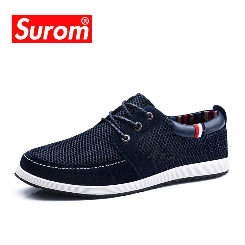 SUROM 2017 Men's Lace up Shoes Cut out England Suede Patchwork Mesh Fashion Men Casual Shoes with Platform Breathable Boat Shoes