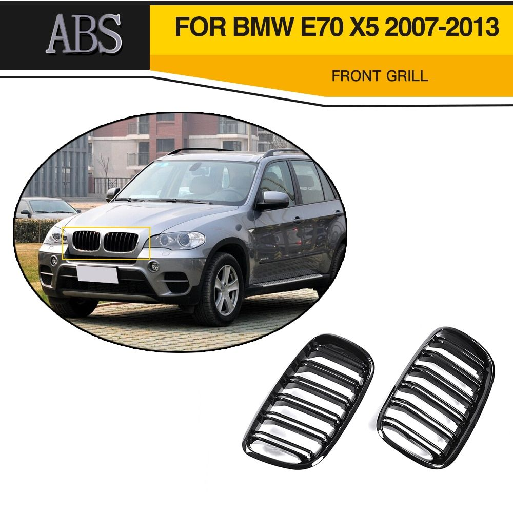 Black Double Slat Kidney Grille Front Grill Grills For BMW E70 X5 SUV 4 Door 2007 - 2013 Car Styling