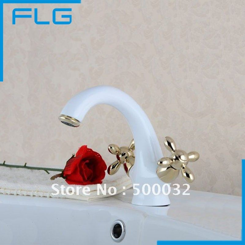 Gold Finishing Basin Faucet Solid Brass Bathroom White Double Handle Tap Hot&Cold Sink Mixer High Quality