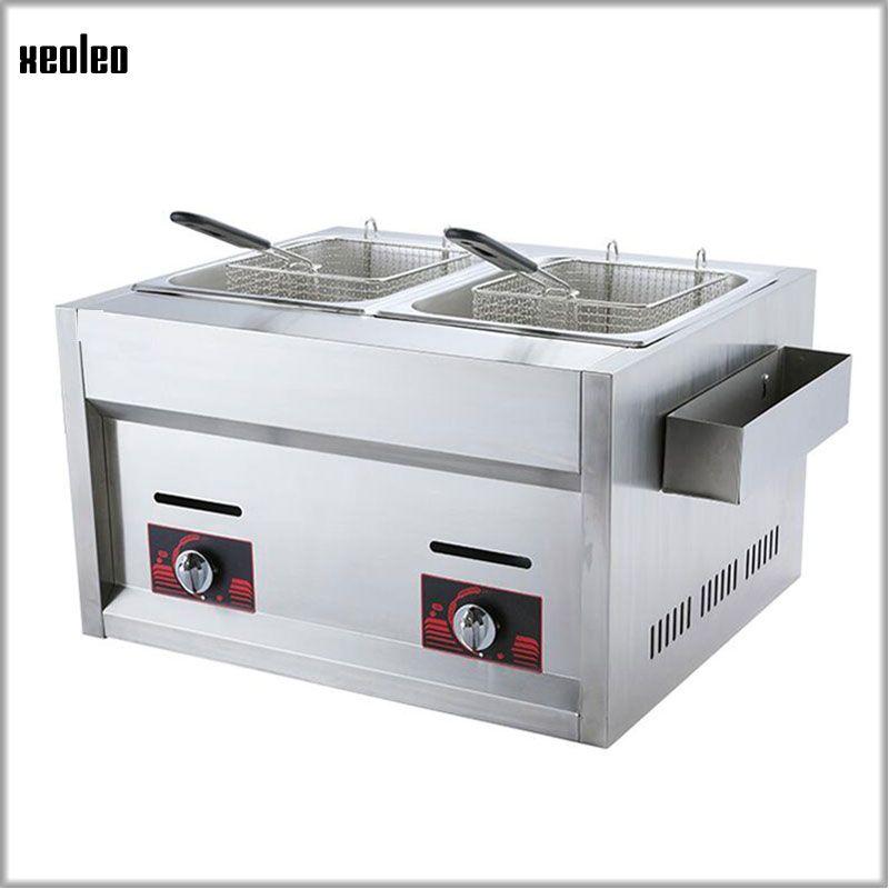 XEOLEO Stainless Steel Fryer Multi-function Commercial Fryer 12L Double Cylinder Double Screen Gas Fryer Fried Chicken 2*4000W