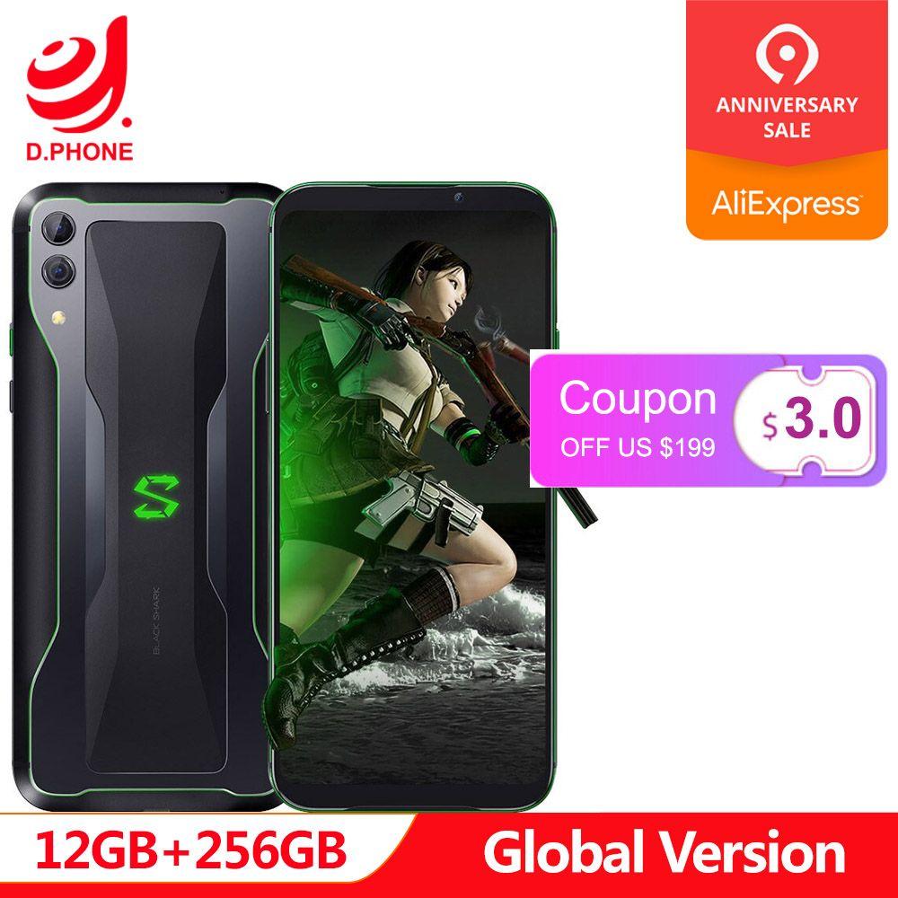 Globale Version Xiaomi Schwarz Shark 2 12 GB 256 GB Gaming Telefon Snapdragon 855 Octa Core 48 + 12 megapixel kamera 4000 mAh Spiel Smartphone