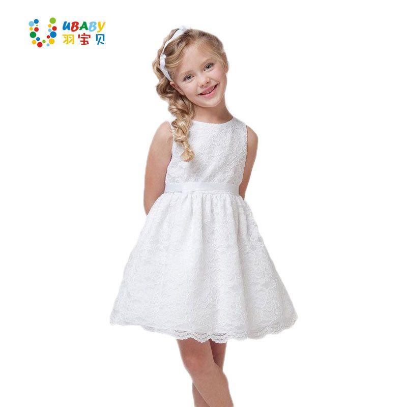2017 été nouveaux enfants vêtements filles belle dentelle robe qualité blanc bébé filles robe adolescent enfants robe pour l'âge 2-12