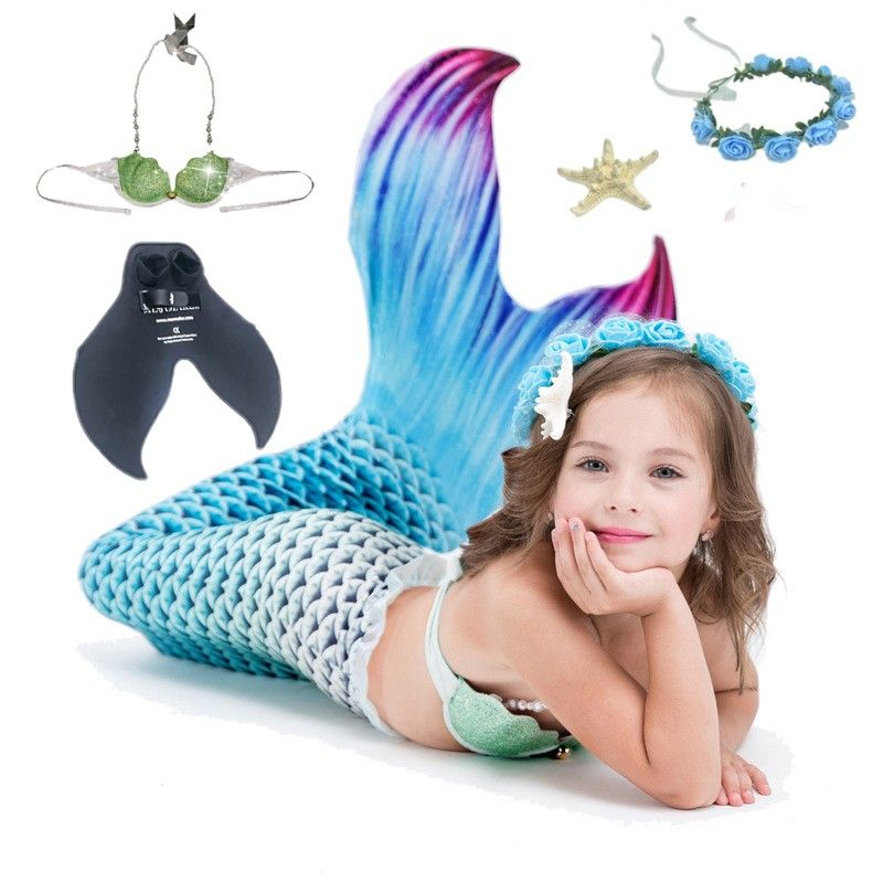 5pcs/set Children Kids Mermaid <font><b>Tails</b></font> For Swimming with Monofin Swimmable Kids Cosplay Costume Mermaid Swimsuit <font><b>Tail</b></font> Costume