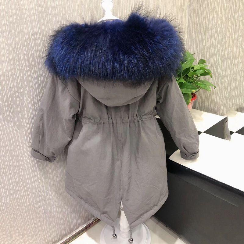 2018 long kids parka with real raccoon fur hoody coat for winter Detachable slim girl winter jackets natural rex rabbit fur