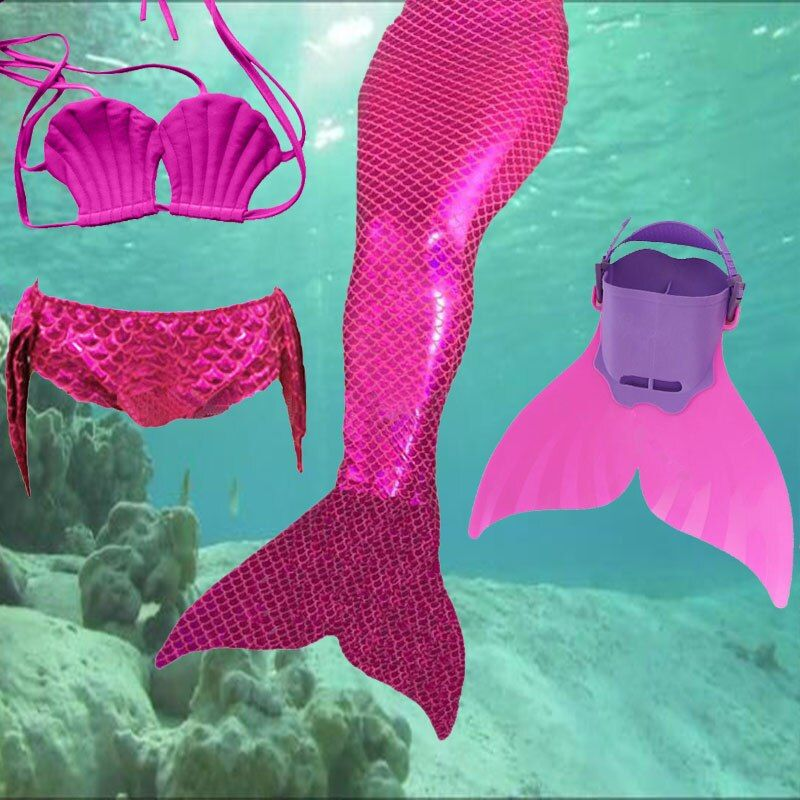 2018 Factory unique design Direct Sale Mermaid Tail Swimmable Swimsuit for girls Birthday 4 Pcs 3Y-12Y Children Swimwear Bikini