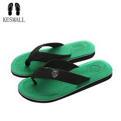 Kesmall nueva llegada hombres del verano Flip Flops alta calidad playa Sandalias no deslizante hombres Zapatillas Zapatos Hombre casual Zapatos A10