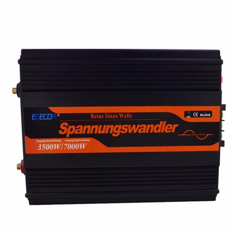 EDECO 12V 3500W / 7000W peak pure sine wave power solar inverter ac to dc power inverter free shipping