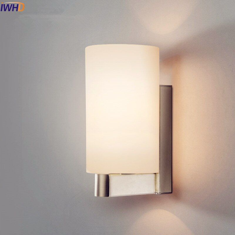 IWHD White Iron Modern LED Wall Lamp Lights For Home Living Room Bedroom Wall Sconce Stair Light Arandela Glass Lampshade