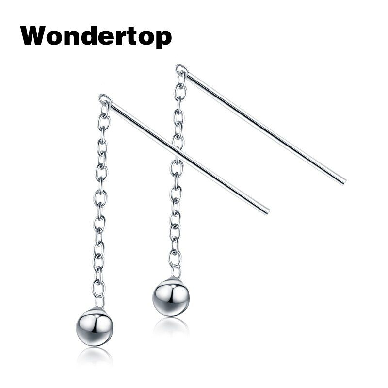 Wondertop D'origine S925 Sterling Argent Boule Perle Enfileur de Baisse Boucle D'oreille Pendantes pour 2017 Femmes Parti Bijoux 1.85 Pouce