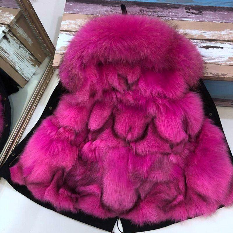 child parka 2018 winter real fur jacket kid's genuine fox fur inside slim fashion warm coats with big raccoon fur hooded outwear