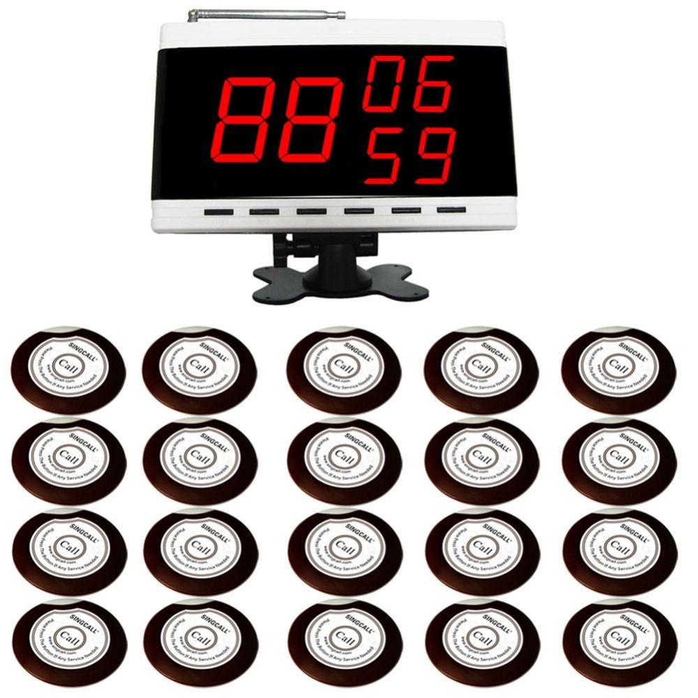 SINGCALL Sans Fil Appel Système de Pagination D'alarme. 20 Table Cloches Boutons et 1 Écran Récepteur