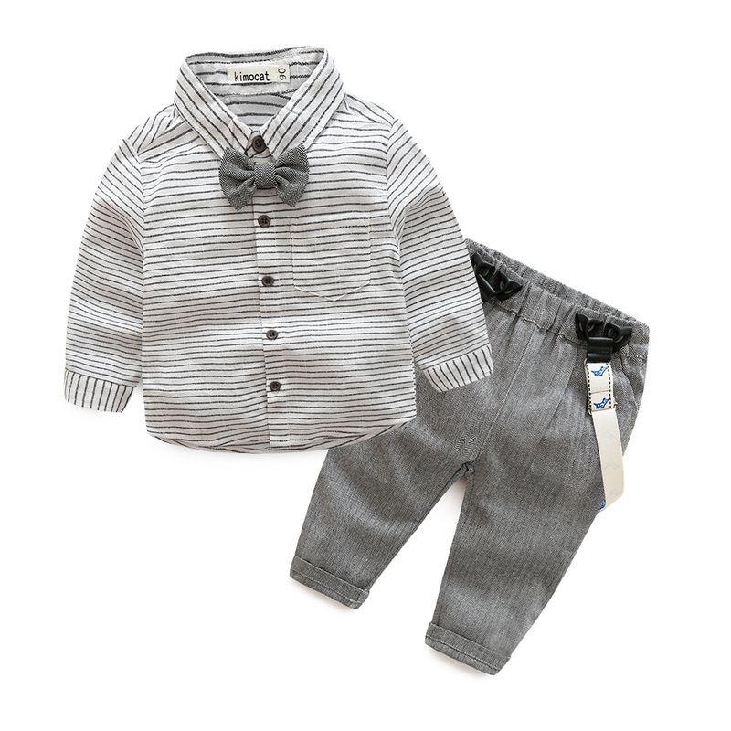 Nouveau-né bébé vêtements enfants vêtements gentleman bébé garçon gris rayé chemise + salopette mode bébé garçon vêtements nouveau-né vêtements