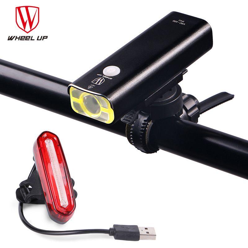 Lumière de bicyclette de roue vers le haut lampe de torche de vélo vtt lumière de cyclisme de route Usb rechargeable lampe frontale LED feu arrière
