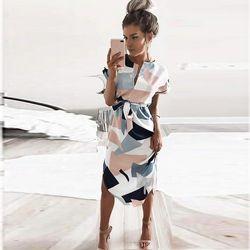 2018 Summer Dress Lady beach out female V neck Maxi Geometric Output Beach Dress Women's Retro dress With Belt Vestidos