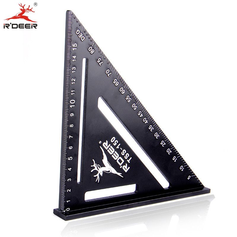 RDEER 150mm Angle Ruler Aluminun Alloy Triangle Ruler For DIY Home Builders Artists Woodworking Measuring Tools