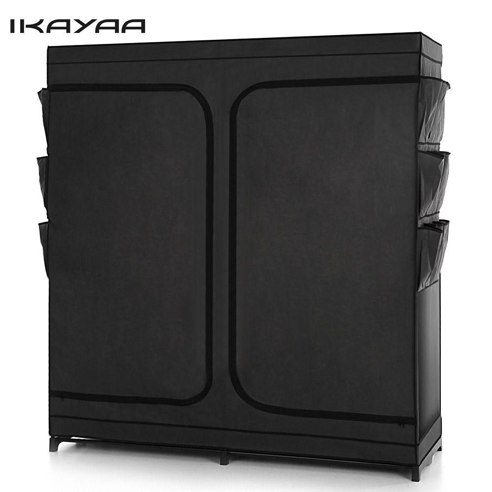 iKayaa Fashion Double Zipped Up Large Clothes Wardrobe Non-Woven Fabric Closet Storage Organzier Hanger Rack DE Stock
