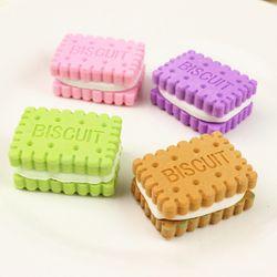 4 unids/set Kawaii galletas Borrador de goma Set escuela Oficina Erase suministros regalos para niños