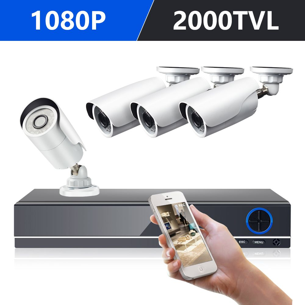 DEFEWAY <font><b>1080P</b></font> HDMI DVR 2000TVL <font><b>1080P</b></font> HD Outdoor Home Security Camera System 8CH CCTV Video Surveillance DVR Kit AHD 4 Camera Set