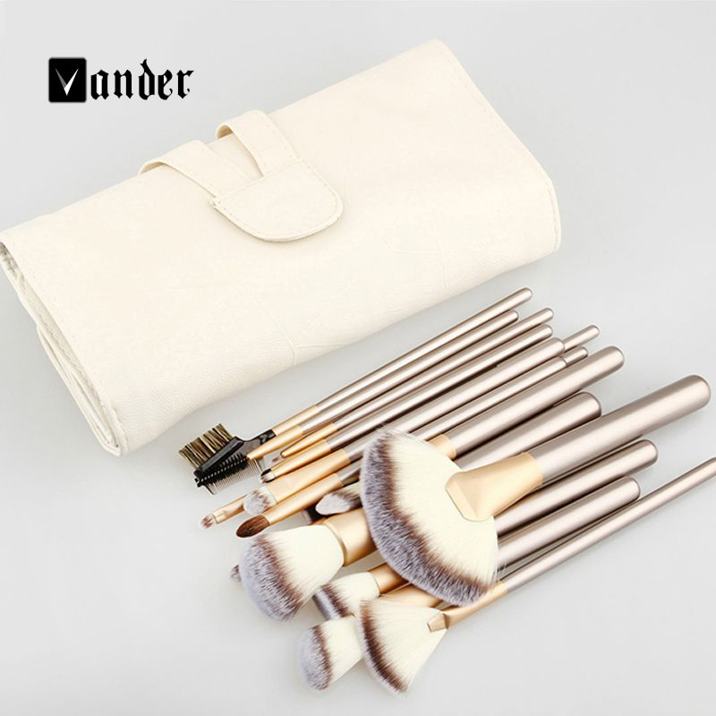 Vander Soft 12/18/24pcs Makeup Brushes Set Cosmetic Make Up Tools Foundation Eyeshadow Blush Kits +Leather Bag Pincel maquiagem