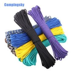 CAMPINGSKY 550 Paracord Parachute Cord Lanyard Tent Rope Mil Spec Type III 7 Strand 100FT Paracord For Hiking Camping 200 Colors
