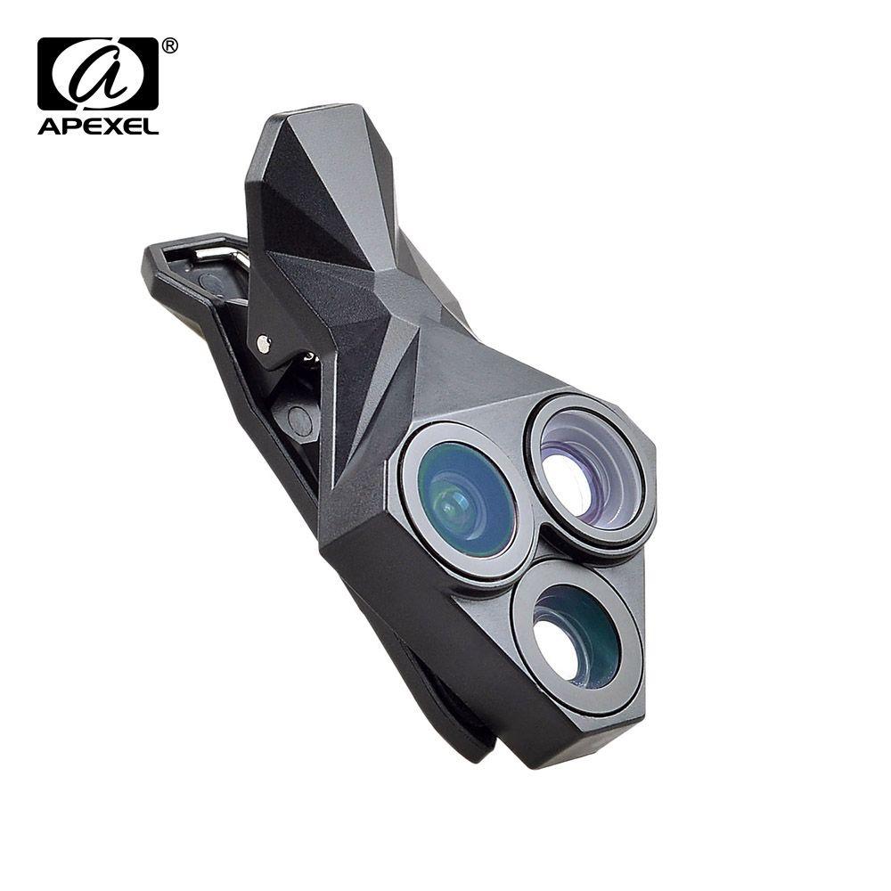 APEXEL arrivée Camera Lens Kit 3 en 1 Fisheye Objectif Grand Angle Macro mobile téléphone Lentille Kit pour iPhone Android Xiaomi APL-YT3