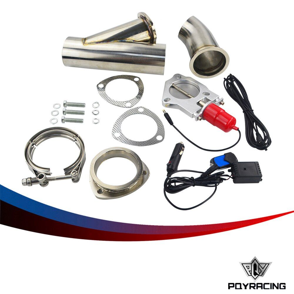 PQY- 2.5 or 3.0 INCH EXHAUST CUTOUT REMOTE CONTROL ELECTRIC DUMP Y-PIPE CATBACK CAT BACK TURBO BYPASS PQY5295