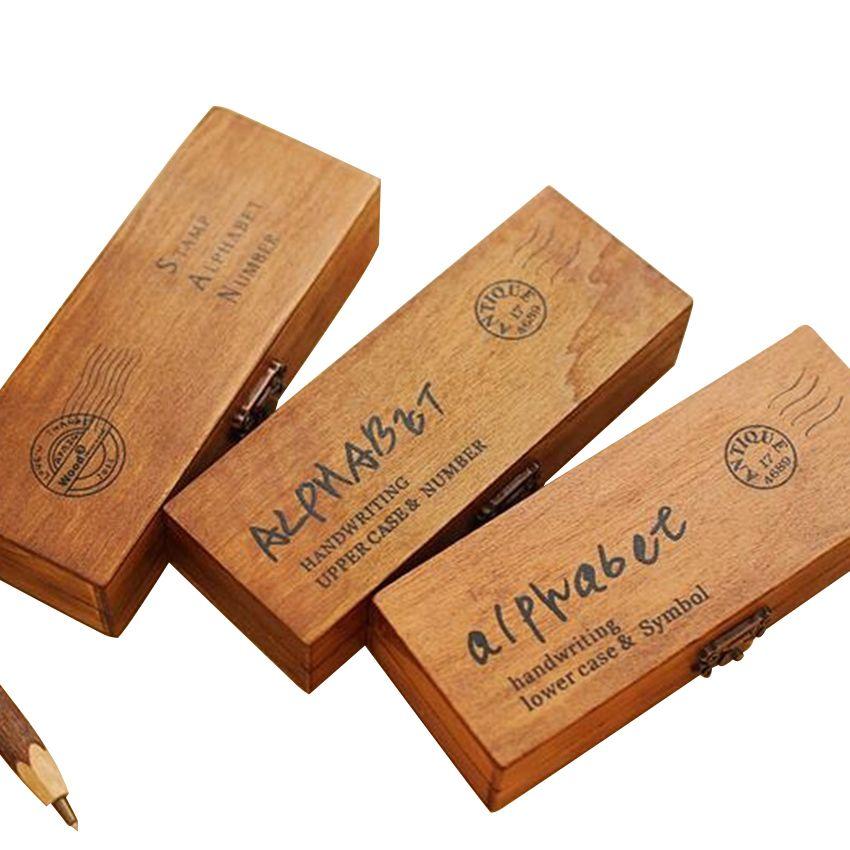 42 Pcs/ensemble Romantique Écriture Alphabet Lettre En Bois Timbre Set Rétro Vintage En Bois Artisanat Boîte En Caoutchouc Timbre 3 Conception Pour Choisir