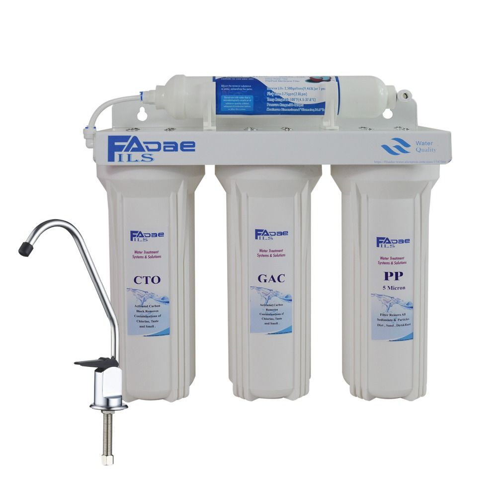 Système de Filtration sous évier domestique à 4 étages pour une eau potable propre et saine, comprenant des filtres-blanc