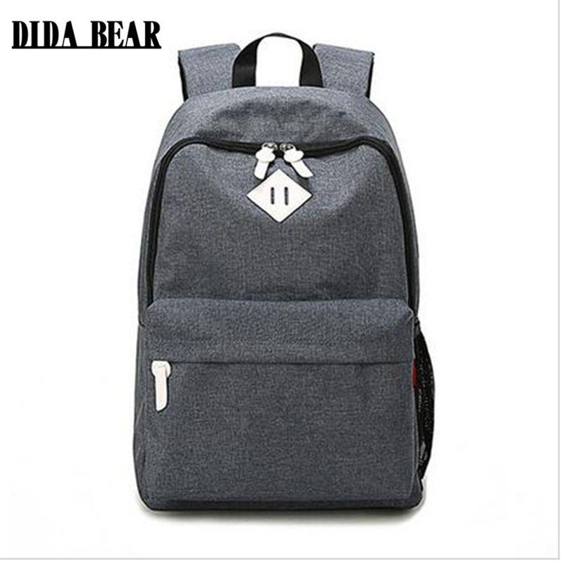 DIDA BEAR Fashion Canvas Backpacks Large <font><b>School</b></font> bags for Girls Boys Teenagers Laptop Bags Travel Rucksack mochila Gray Women Men