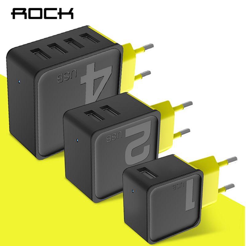 ROCK Sucre 4 2 1 Ports USB Chargeur Mural Téléphone Rapide voyage Adaptateur 5V1A 5V2. 4A 5V4A US Plug UE Pour iPhone Samsung Xiaomi