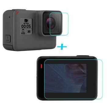 Tempered Glass Protector Cover Case For GoPro Go pro Hero5 Hero6 Hero 5/6 Black Front Camera Lens LCD Screen Protective Film