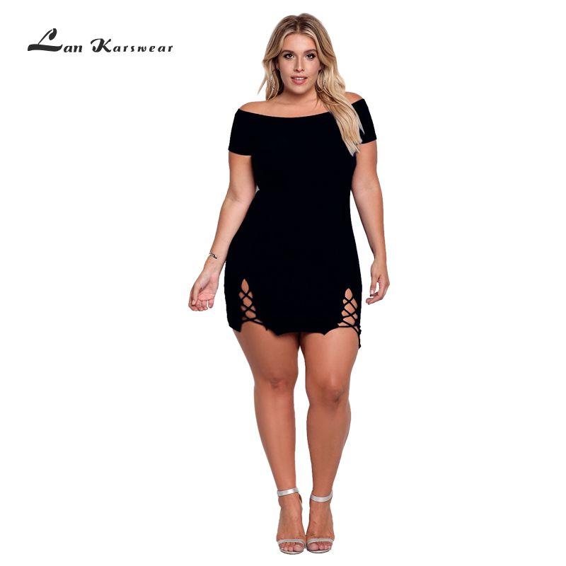 Robe d'été Femme XXXL Plus Taille Sexy Moulante Bureau Dames Creux Beach Party Solide-Dessus Du Genou Mini Bandage Off le épaule