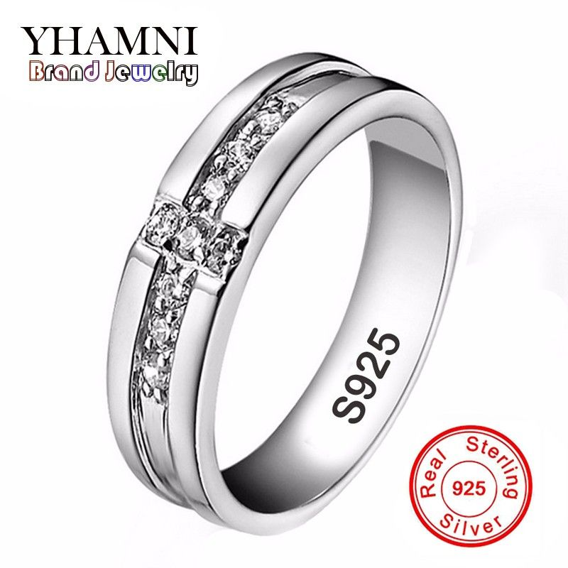 YHAMNI Real Solid 925 Silver Cross Rings Cubic Zircon Jewelry Engagement Rings Gift for Lovers Couple Wedding Rings For Men AR11