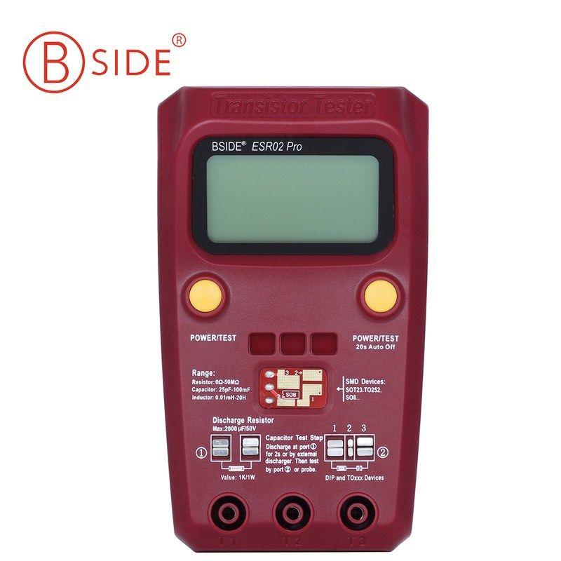 Digital Transistor Tester Diode Triode Capacitance Resistor ESR02 PRO Meter MOS/PNP/NPN SMD Tester LCD Screen Professional