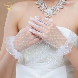 Sarung Tangan pernikahan Beige Sarung Tangan Desain Pendek Renda Kasa Transparan G035