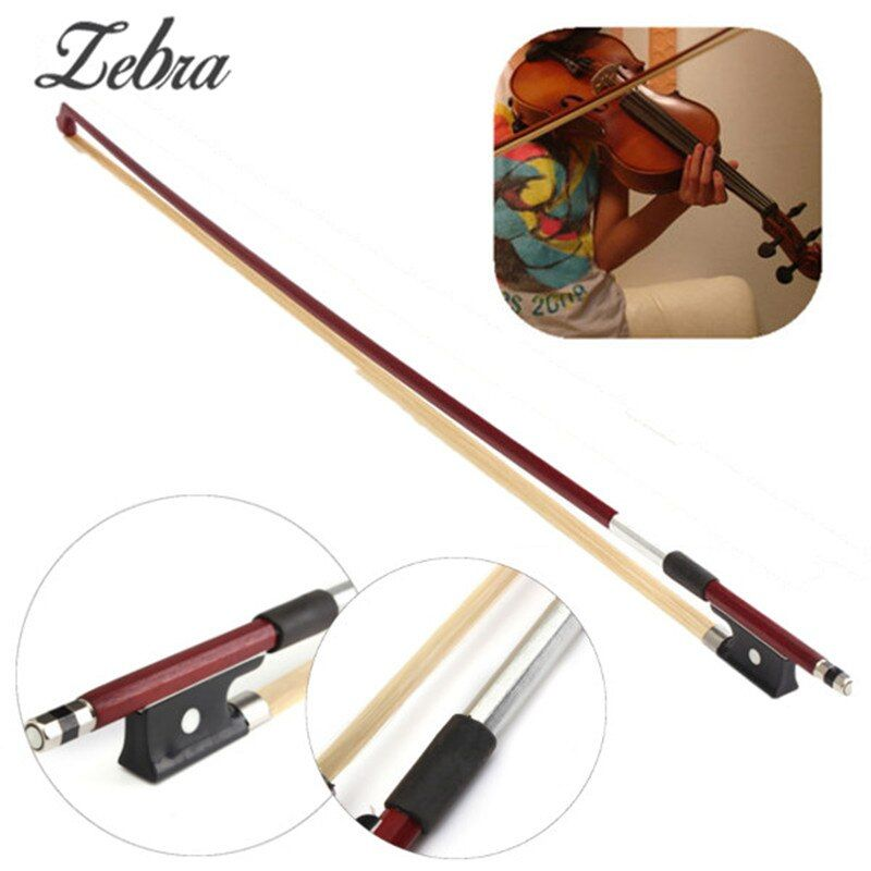 Zebra Professional 4/4 Black Handle Arbor Rosewood White Copper Horsehair Violin Practised Bow Red Brown